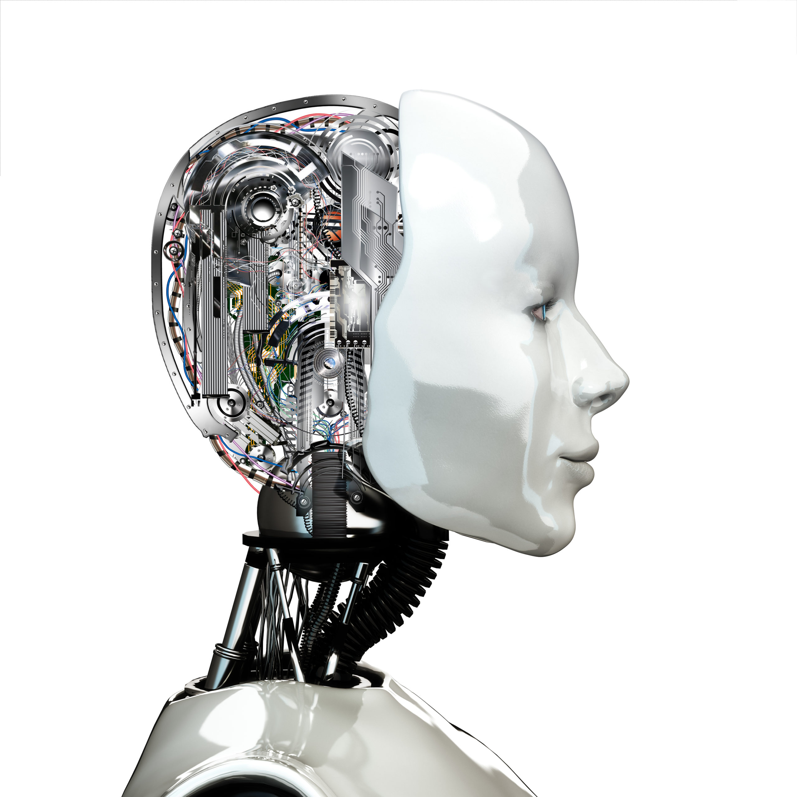 A robot woman head with internal technology ,side view isolated on white background.